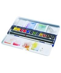Краски акварельные Winsor&Newton, Cotman Blue box, 12 цветов в металлической коробке