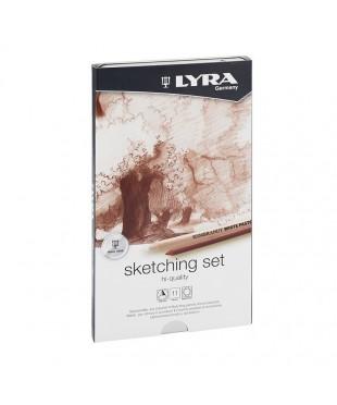 """LYRA Набор художественных карандашей """"Sketching Set"""" + ластик-клячка + точилка (11 предметов)"""