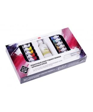 Подарочный набор художественных акриловых красок ЛАДОГА 2241968  12 цв х 18 мл