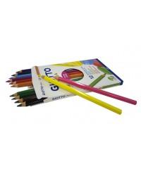Цветные карандаши гексагональной формы GIOTTO MEGA, 12 цв., утолщенные 12 шт., 225600