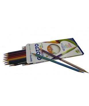 Цветные двусторонние гексагональные карандаши GIOTTO STILNOVO BICOLOR AST, 12шт=24цв., 256900