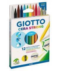 Giotto Cera Strong Восковые карандаши с добавлением пластика, 12 цветов+ластик+точилка