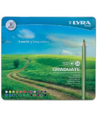 """Набор гексагональных карандашей цветных Lyra """"Graduate"""" 24 цв, в металлическом пенале"""