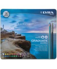 Цветные гексагональные акварельные карандаши LYRA GRADUATE AQUARELL 24 цветов