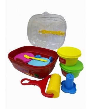 Детская мягкая паста для моделирования GIOTTO be-be Bucket, 462600  4 цв х100 гр, инструменты, в пластиковом чемоданчике