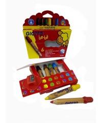Деревянные карандаши с точилкой GIOTTO BEBE' Super Largepencils 6 цв.,  466400