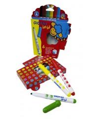 Детские фломастеры с толстым стержнем GIOTTO BEBE' Super Fibre Pens  6 цв., 466600