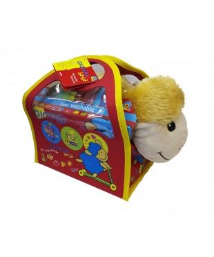 """Детский набор с мягкой игрушкой """"Овечка"""", Giotto be-be, 468500   12 фломастеров, раскраска, в сумке"""