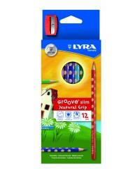 Цветные карандаши LYRA GROOVE SLIM с эргономичным захватом по всей длине, 12 цветов