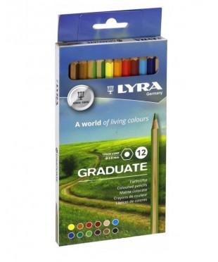 Гексагональные цветные карандаши LYRA GRADUATE , 12 шт., картонная упаковка, L2871121