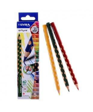 Цветные карандаши LYRA GROOVE  утолщенные,5цв., L3811050