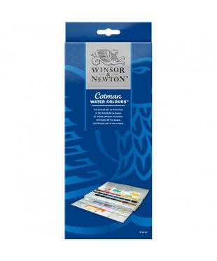 0390084 Набор акварели Winsor&Newton, серия Cotman, 24 цвета, пластик