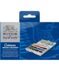 0390653 Winsor&Newton Набор акварельный красок Cotman, 12 цветов с кисточкой, пластиковая коробка
