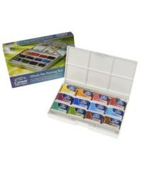 Набор акварельный красокWinsor&Newton, Cotman, 12 цветов с кисточкой, пластиковая коробка, 0390653