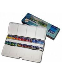 0390645 W&N Набор акварельных красок, 24 цвета, металл