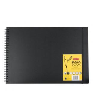 Блокнот DERWENT для эскизов в твердой обложке на спирали BLACK BOOK , 40л, формат А3, DE2300381