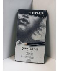 L2041111 LYRA Graphite Set Карандаши художественные+ластик+пастель 11 предметов в металлической коробке