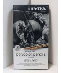 L2001122 Remrandt Polycolor Художественные карандаши, 12 цв. в металл коробке оттенки серого