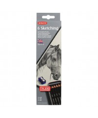 DE0700836  Derwent Набор чернографитовых карандашей Sketching, круглый  корпус 8мм, грифель- 4мм, 2шт х HB, 2