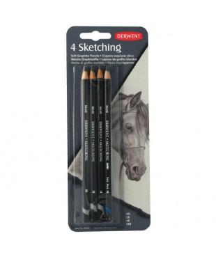 DE39003 Набор чернографитовых карандашей Sketching, круглый  корпус 8мм, грифель- 4мм, 4шт., в блист