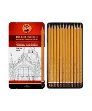 """1502012009PL KOH-I-NOOR 1502/3 Набор профессиональных чернографитных карандашей, 12 шт. """"Graphiс''"""