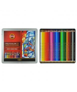 """3824024002PL KOH-I-NOOR 3824 (24) Набор высококачественных художественных цветных карандашей """"Polyco"""