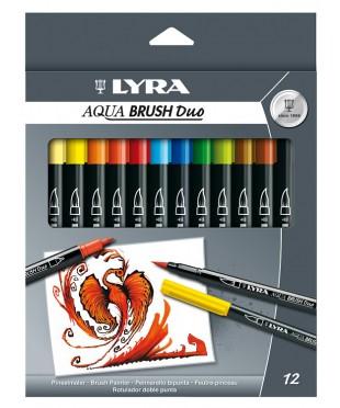 Набор профессиональных акварельных фломастеров AQUA BRUSH, двусторонние, 12 цветов