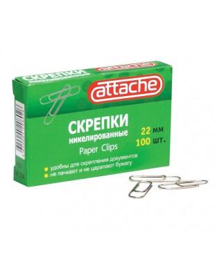 141294 Скрепки Attache металлические никелированные 22 мм (100 штук в упаковке)