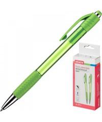 389744 Ручка шариковая автоматическая Attache Happy синяя (зеленый корпус, толщина линии 0.5 мм)