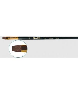Кисть колонок плоская № 18, ручка черная матовая длинная 1127